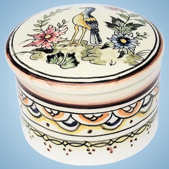 Coimbra Ceramic Container Signed Rusario