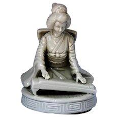 Porcelain Music Box Geisha Playing Kyoto
