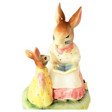 Lefton Music Box. Vintage. Mrs. Bunny Rabbit reading a story to her daughter.