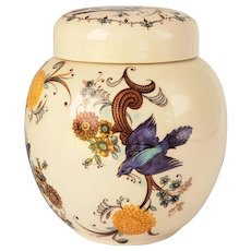 Lidded Ginger Jar/Tea Caddy by Sadler of Staffordshire Bluebirds of Happiness Ironstone