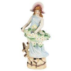 Hand Painted Lady Figurine with a Bower of White Flowers Made in Occupied Japan Mid Century