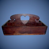 Antique 19th century folk art primitive heart cut out cutlery tray/ knife box