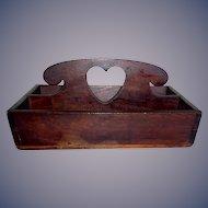 Antique 19th century folk art primitive heart cut out cutlery tray/ knife box