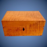 Antique 19th century solid tiger maple document box