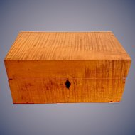 Antique 19th century solid tiger maple document box