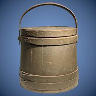 Exquisite 19th century firkin bucket in old green paint