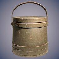 Exquisite 19th century firkin bucket in old green paint