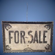 Outstanding all Original Painted Wood Sign made 18 th century Black and White lettering  saying For Sale