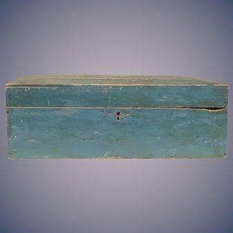 Wonderful 19th century blue painted box