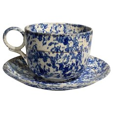 American Oversized Spatterware Spongeware Cup & Saucer in vibrant blue and white decoration excellent condition