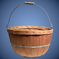 Stunning Wooden Apple Basket with mellow surface and swing handle made 18th century great storage