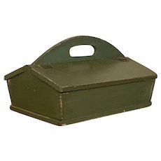 19th century Green Painted Knife Cutlery Box with lid and dovetails