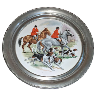 Lovely Pewter Plate With Fox Hunting Scene
