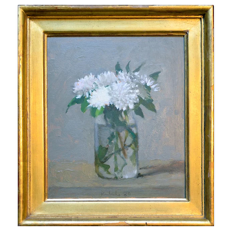 Robert Kulicke- Signed White Still Life Oil Painting
