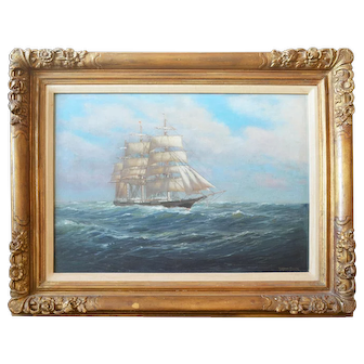 Under Way Original Oil Painting by C. Myron Clark (1858-1925)