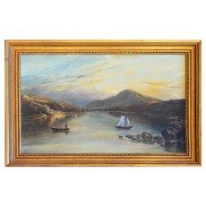 Hudson River School Antique Original Oil Painting