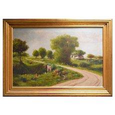 Pastoral Scene original oil painting by H. Hulsmann (1849-1930)