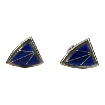 Vintage Signed Zuni Lapis with Sterling Silver Inlay Earrings