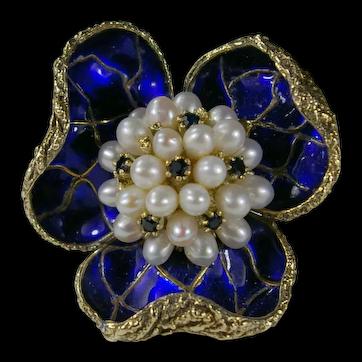 Wonderful Sapphire Pearl Enamel Flower Pin/Brooch 14k Gold