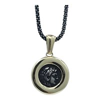 Hercules reproduction coin sterling silver and 14kt yellow gold pendant