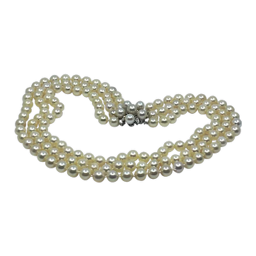 Akoya natural color 3-strand cultured pearl necklace with 14kt gold and diamond clasp