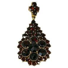 Vintage Bohemian Pear-shaped Multi-stone Garnet Pendant