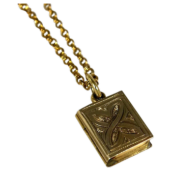Antique Victorian 10k Gold Book Locket with Woven Hair on 14k Yellow Gold Chain