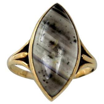 Vintage Marquise Diagonal Banded Agate 10k Yellow Gold Ring