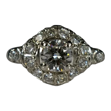 Vintage Halo Engagement Ring with 15 Diamonds 14k White Gold