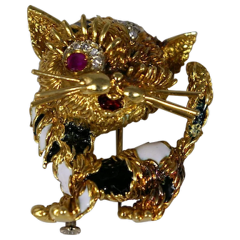 Vintage Modele Depose 'FC' Italian Made 18k Gold Kitty Cat Pin/Brooch with Ruby, Diamonds