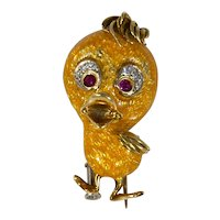 Vintage Italian 18k Gold 'Tweety Bird' Pin/Brooch Diamond Ruby and Yellow Enamel