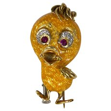 Vintage Italian 18k Gold 'Tweety Bird' Pin/Brooch Diamond Ruby and Yellow Enamel