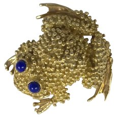 Frog Pin/Brooch 18k Gold and Lapis Lazuli