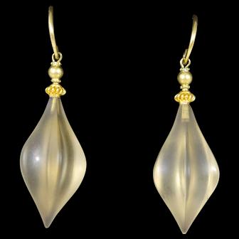 18k Gold German Carved Citrine Drop Earrings