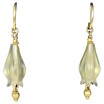 18k Gold German Carved Pale Green Quartz Flower Drop Earrings