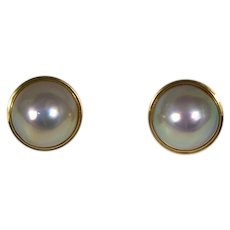 Mabe Cultured Pearl Earrings 18k Yellow Gold