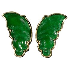 Dark Green Jadeite Butterfly Wing Carved Earrings 18k Gold with Certificate