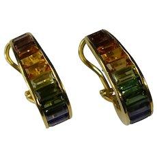 Rainbow Multigem Baguette Hoop Earrings 18k Gold