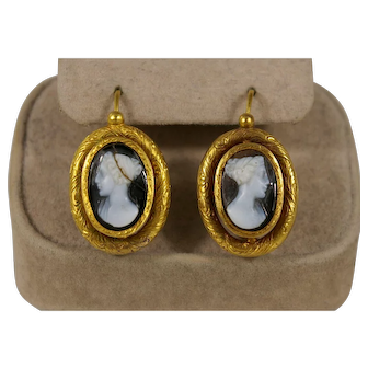 Antique French Hinged-Back Earrings with Cameos of a Woman set in 18k gold