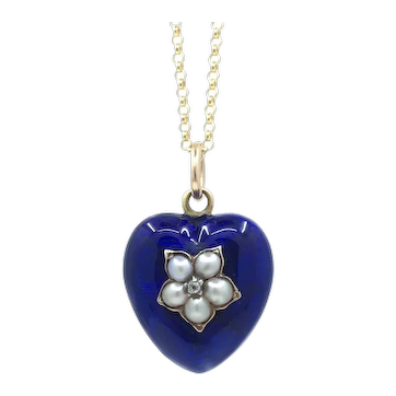 Antique Victorian Blue Enamel with Pearl and Diamond Locket 18k gold