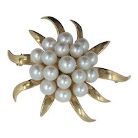 14kt Flower Pin with Pearls