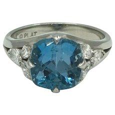 Aquamarine Ring with Diamonds in Platinum