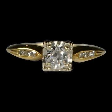 Vintage Engagement Ring 0.35ct Diamond 18kt Gold