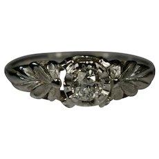 Engagement Ring 0.28ct Old European Diamond 14k White Gold