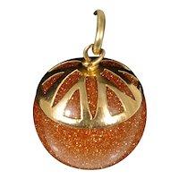 Vintage Goldstone Ball Pendant 14k Gold