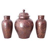 Boch Keramis , Very rare Art Nouveau Garniture Set of 3 Vases by Emile Diffloth