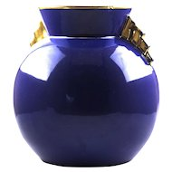 Boch Mid Century deep blue and gold vase