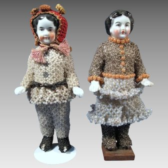 Frozen Charlotte Pair in Original Beaded Clothing, 5.5 inches