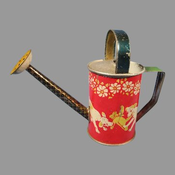 "Doll's Watering Can, Lithographed Tin, Germany, 4 1/4"" Tall"