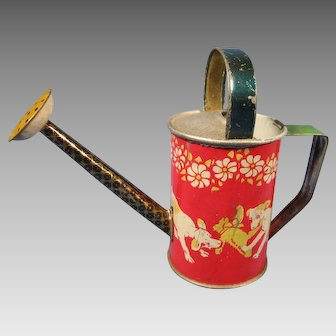 """Doll's Watering Can, Lithographed Tin, Germany, 4 1/4"""" Tall"""
